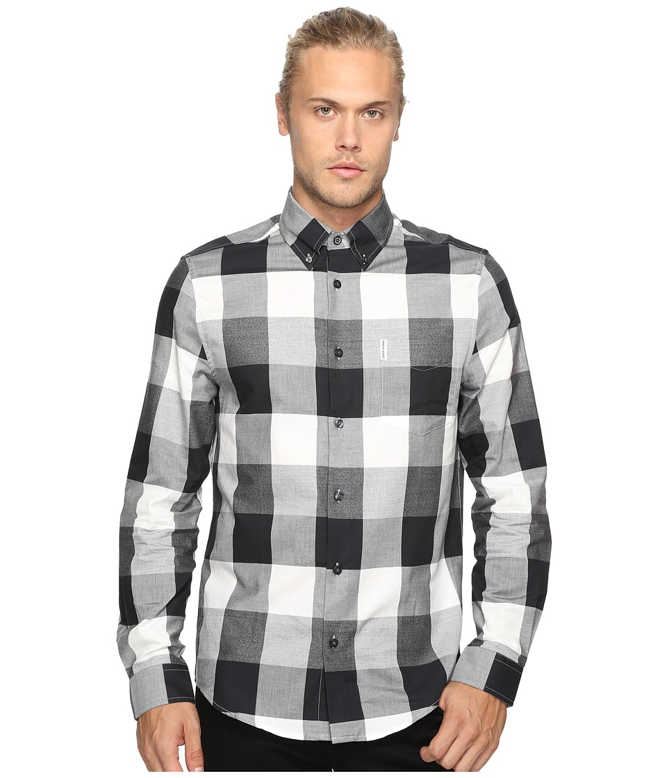 Ben Sherman - Long Sleeve Textured Oversized Gingham Woven Shirt (True Black) Men's Long Sleeve Button Up