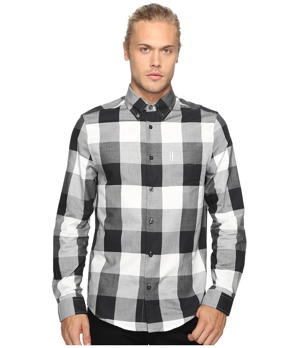 Ben Sherman - Long Sleeve Textured Oversized Gingham Woven Shirt (True Black) Men's Long Sleeve Button Up