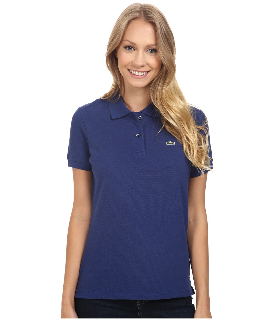 Lacoste - Short Sleeve Classic Fit Pique Polo Shirt (Waterfall Blue) Women's Short Sleeve Knit