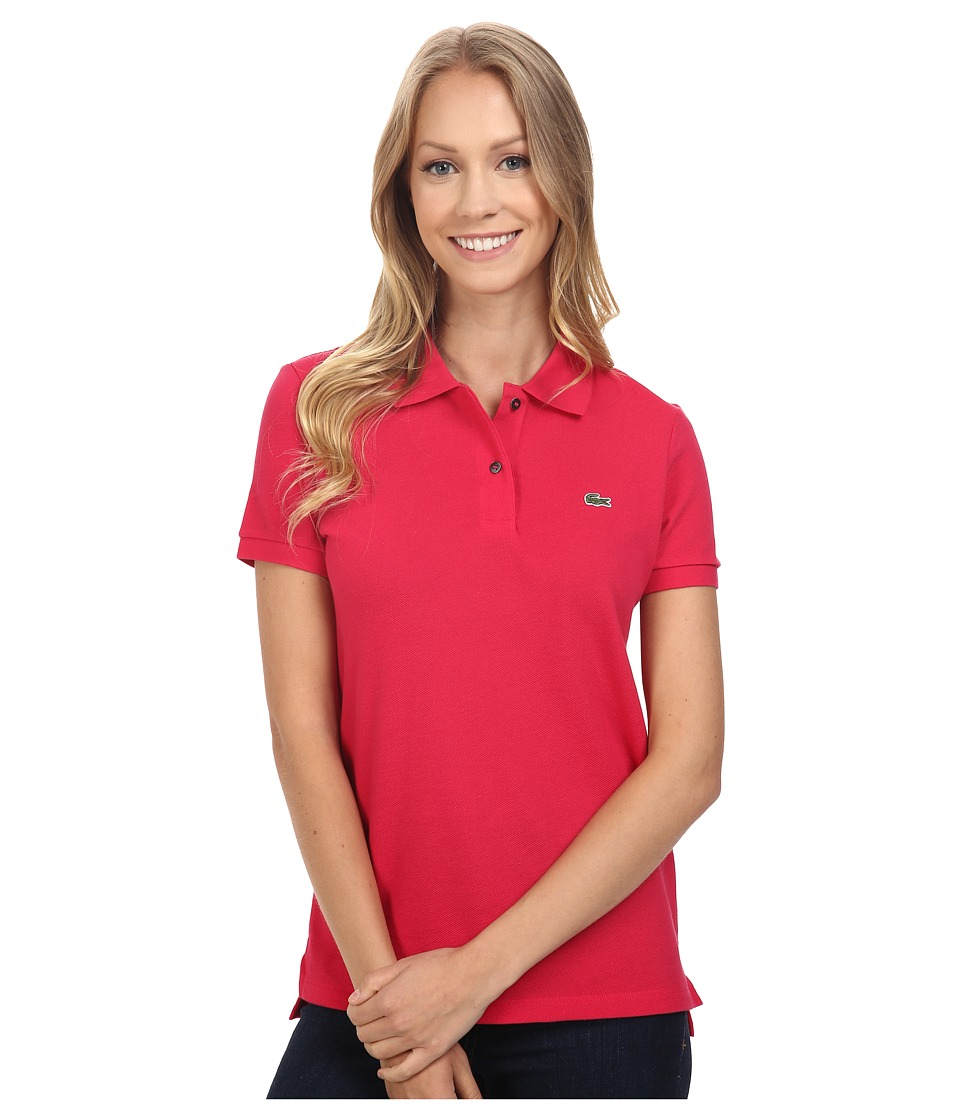 Lacoste - Short Sleeve Classic Fit Pique Polo Shirt (Strawberry Pink) Women's Short Sleeve Knit