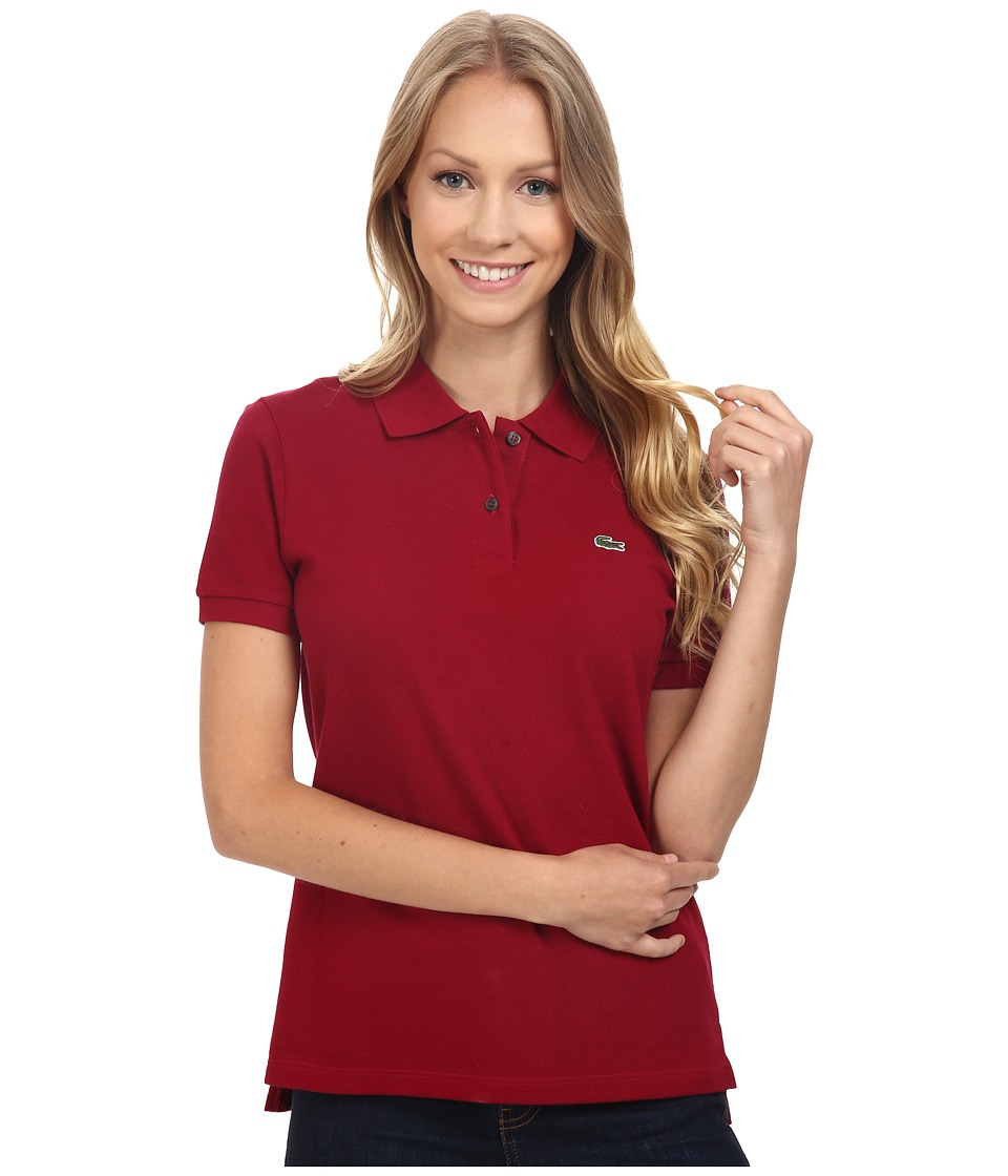 Lacoste - Short Sleeve Classic Fit Pique Polo Shirt (Bordeaux) Women's Short Sleeve Knit