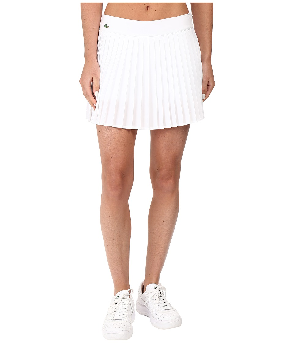 Lacoste - Technical Solid Pleated Tennis Skirt (White) Women's Skirt