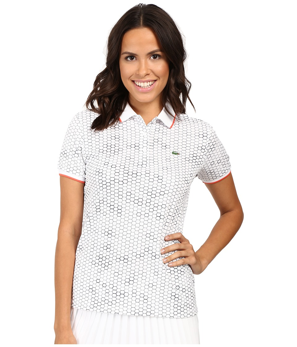 Lacoste - Short Sleeve Geometric Printed Technical Polo Shirt (White/Navy Blue/Mango Tree Red) Women's Short Sleeve Knit