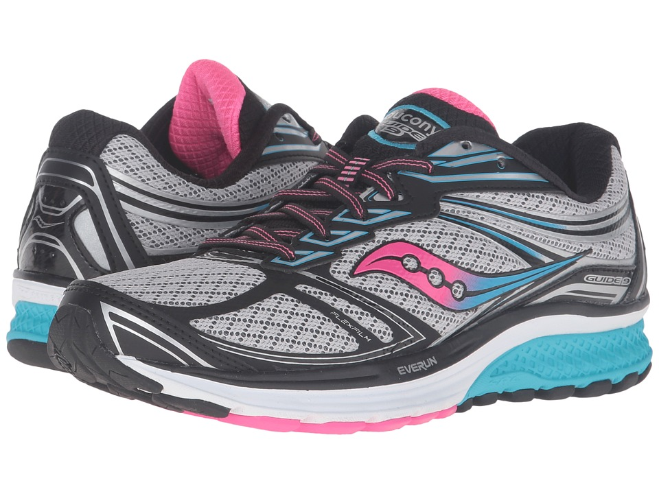 Saucony - Guide 9 (Grey/Blue/Pink) Women's Shoes