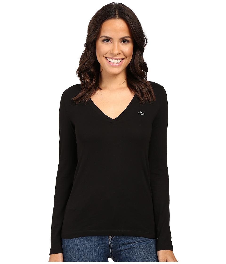 Lacoste - Long Sleeve Cotton Jersey V-Neck Tee Shirt (Black) Women's T Shirt