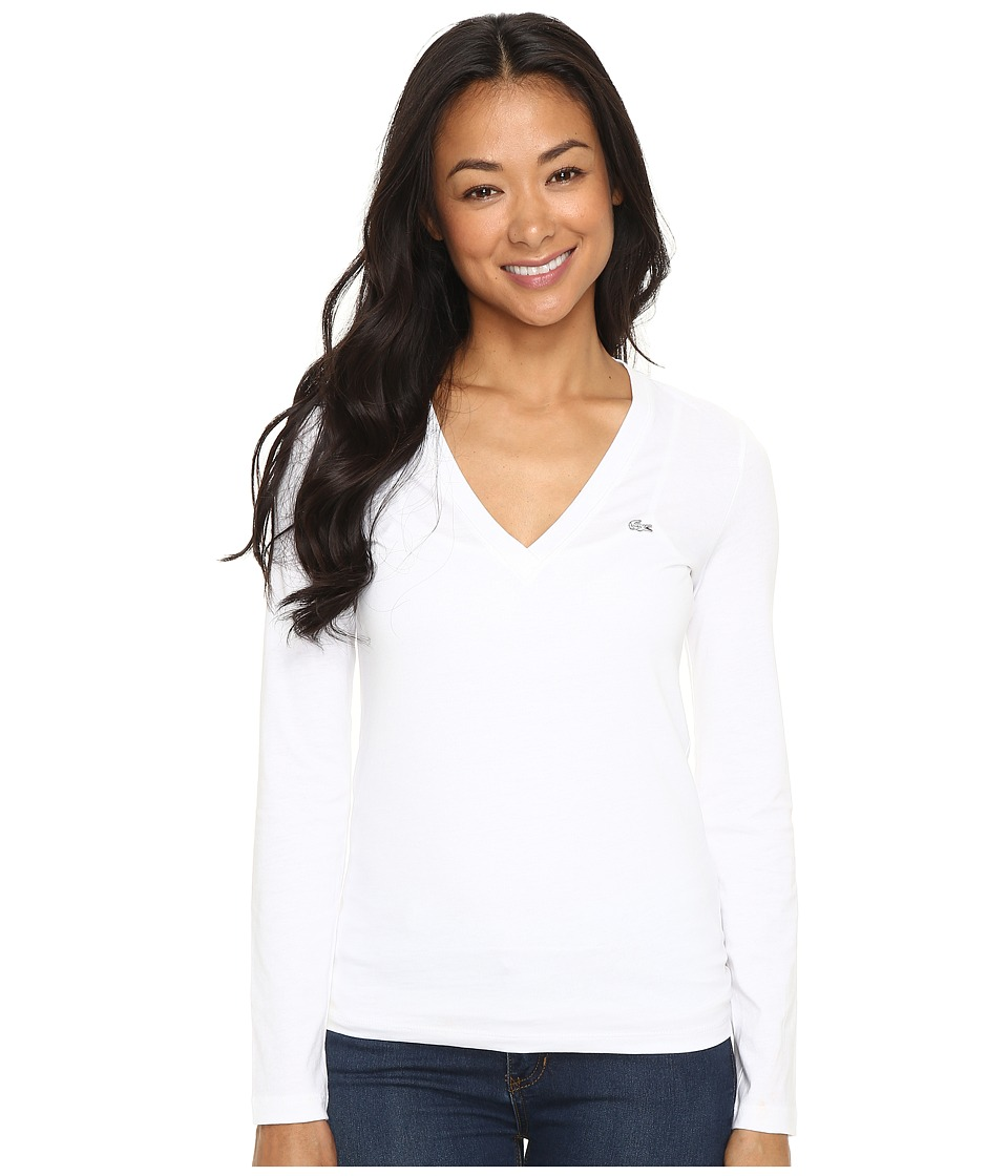 Lacoste - Long Sleeve Cotton Jersey V-Neck Tee Shirt (White) Women's T Shirt