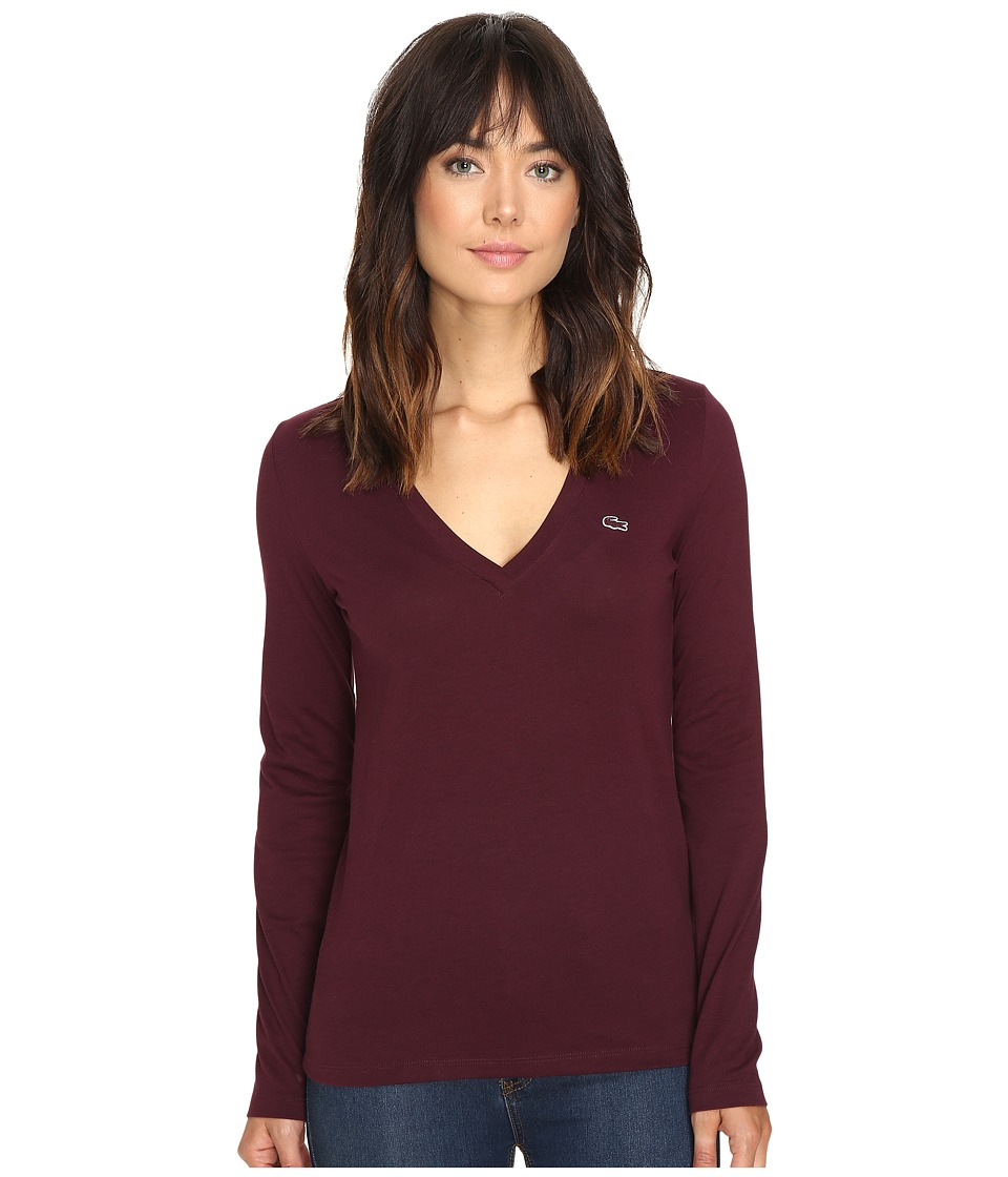 Lacoste - Long Sleeve Cotton Jersey V-Neck Tee Shirt (Red Grape) Women's T Shirt