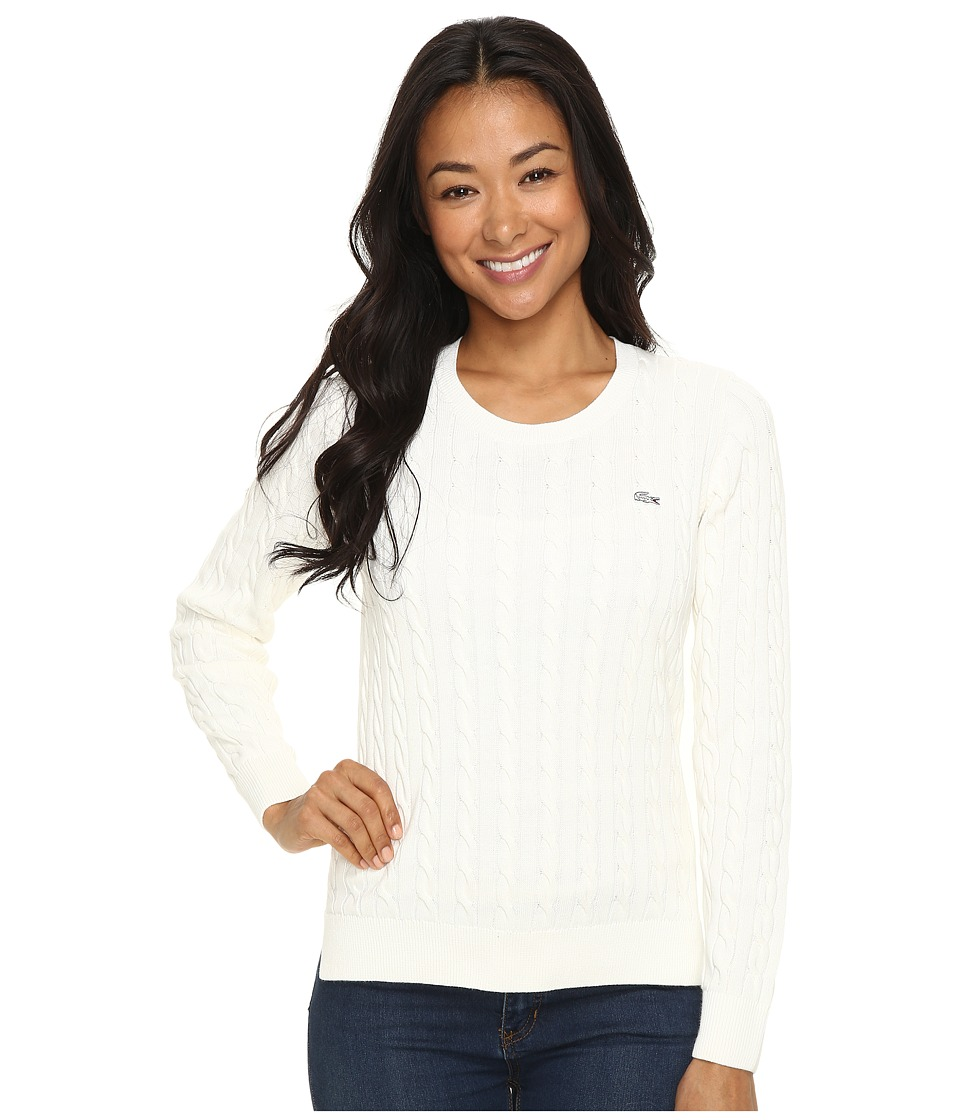 Lacoste - Long Sleeve Cotton Cable Knit Crew Neck Sweater (Cake Flour White) Women's Sweater