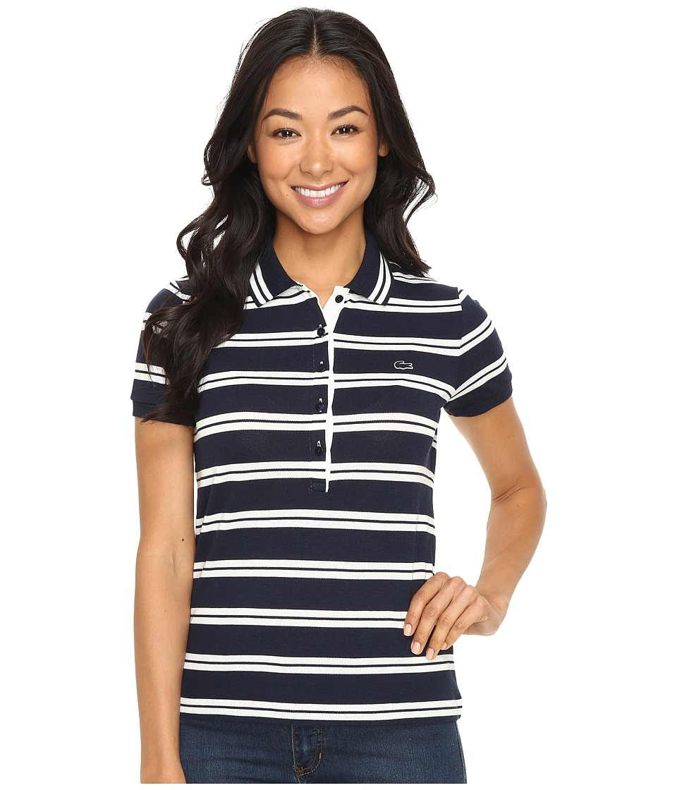 Lacoste - Short Sleeve Striped Slim Fit Polo Shirt (Navy Blue/Cake Flour White) Women's Short Sleeve Knit