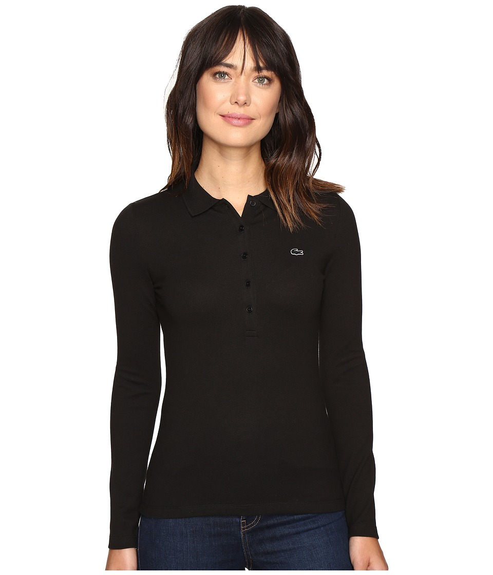 Lacoste - Long Sleeve Stretch Pique Polo (Black) Women's Long Sleeve Pullover