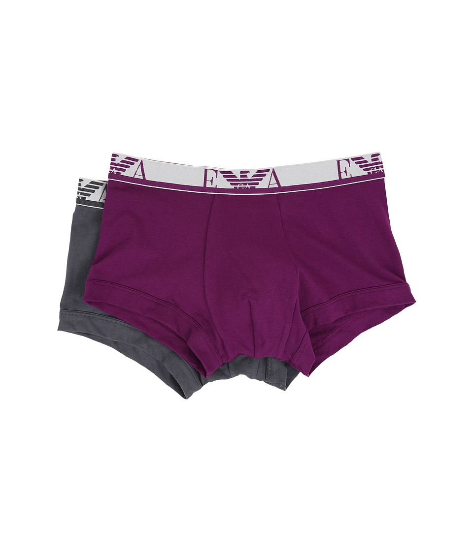 Emporio Armani - 2-Pack Color Stretch Cotton Trunk (Anthracite/Plum Violet) Men's Underwear