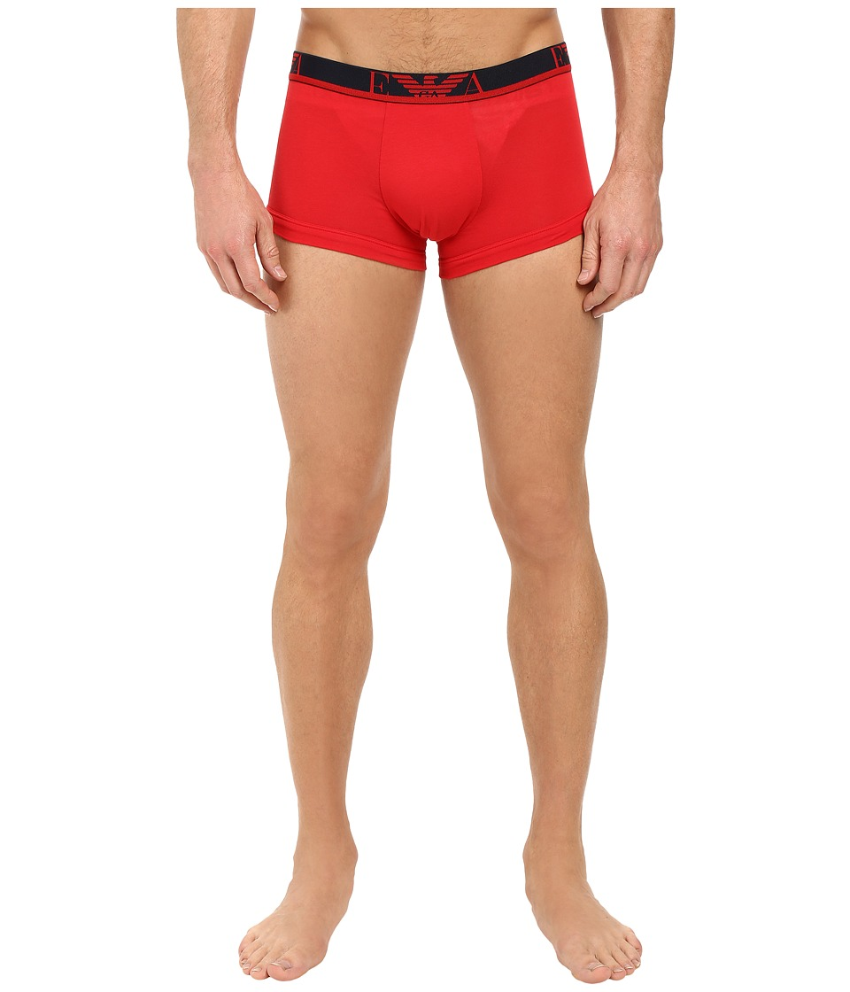 Emporio Armani - 2-Pack Color Stretch Cotton Trunk (Red/Marine) Men's Underwear