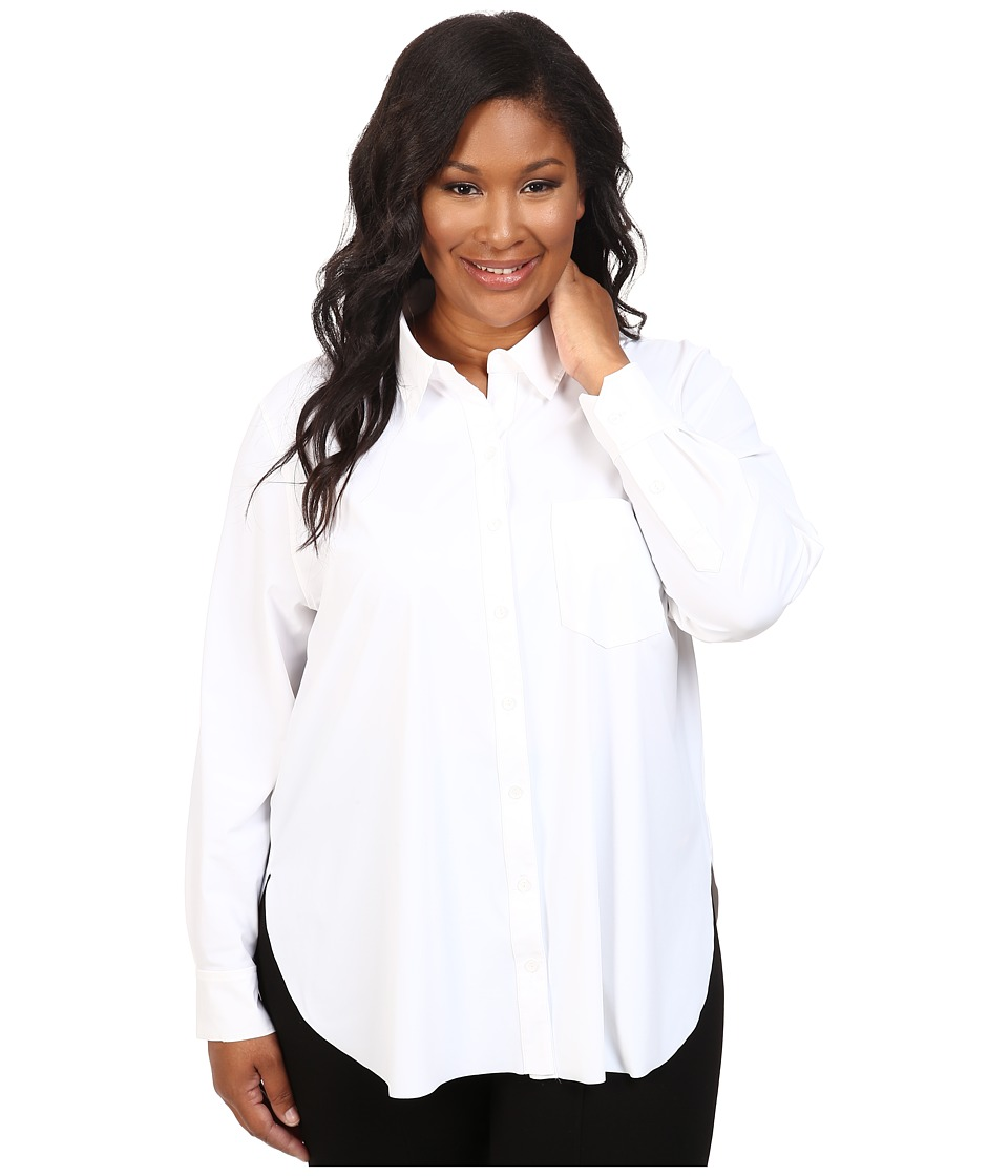 Lysse - Plus Size Schiffer Stretch Button Down (White) Women's Clothing