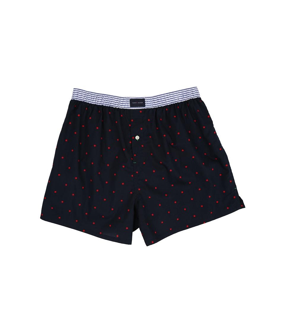 Tommy Hilfiger - Star Print Cotton Woven Boxer (Dark Navy) Men's Underwear