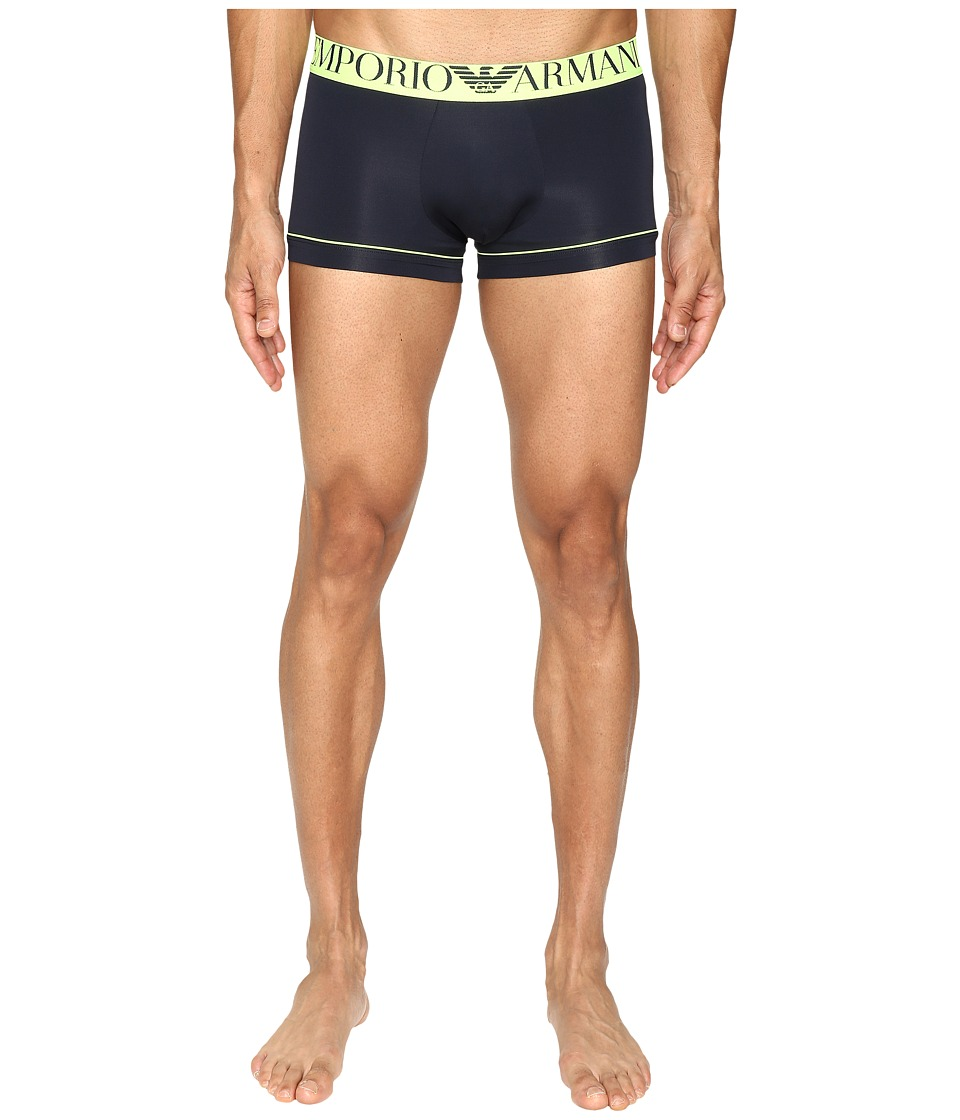 Emporio Armani - Fluo Piping Microfiber Trunk (Marine) Men's Underwear