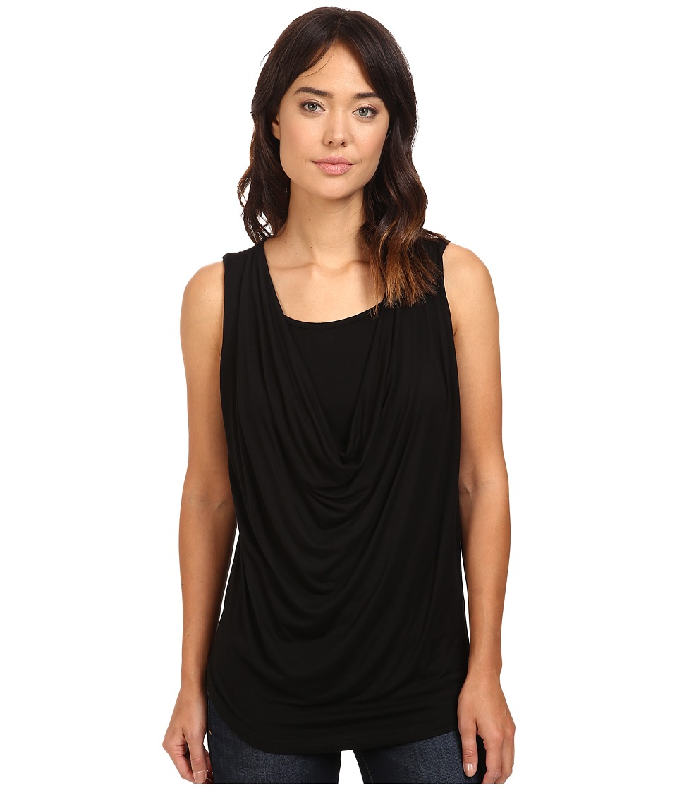 Christin Michaels - Freida Sleeveless Cowl Neck Top with Built-In Camisole (Black) Women's Sleeveless