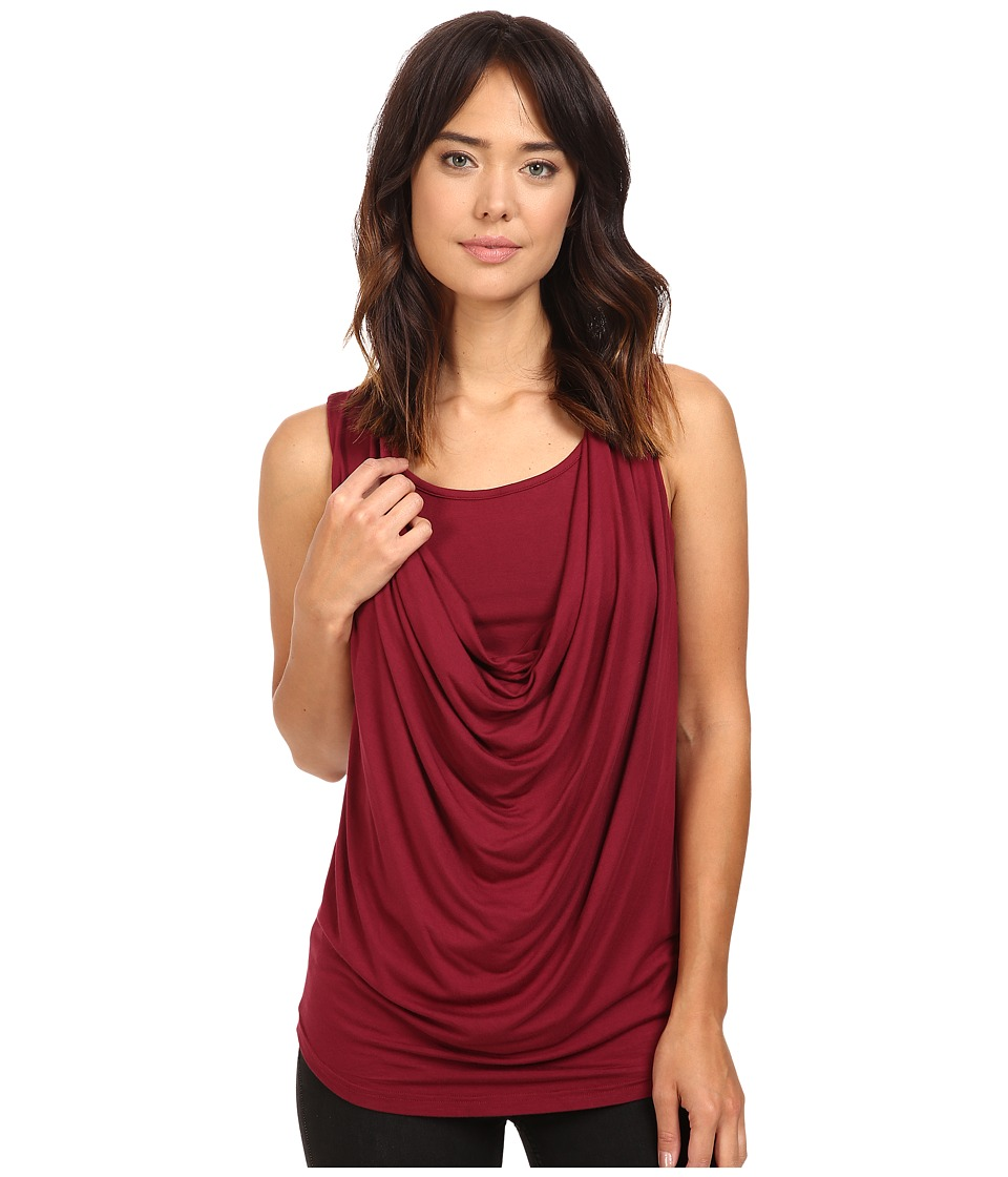 Christin Michaels - Freida Sleeveless Cowl Neck Top with Built-In Camisole (Wine) Women's Sleeveless