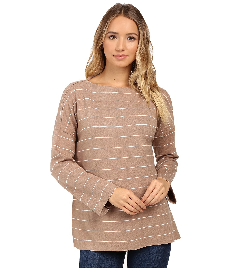 Christin Michaels - Angelie Boat Neck Sweater (Tan/White) Women's Sweater