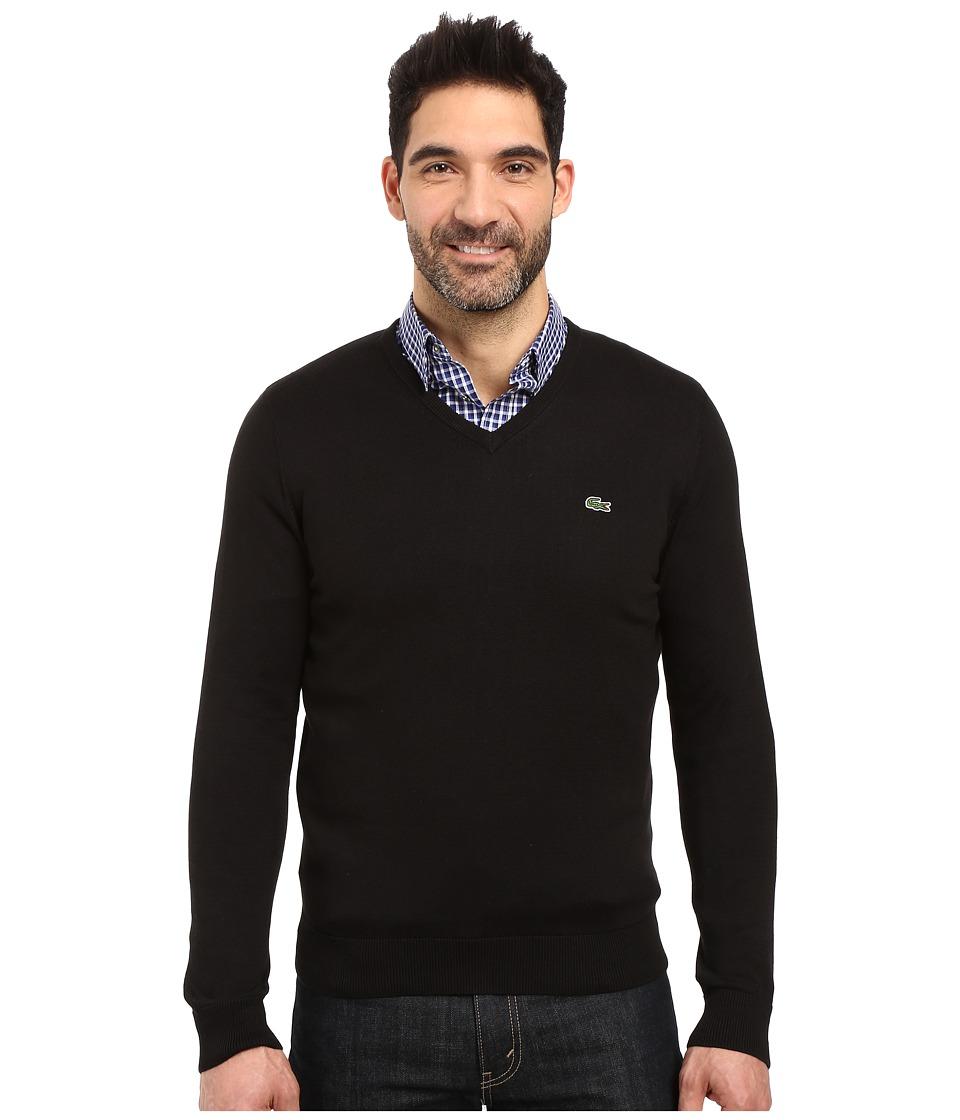 Lacoste - Segment 1 Cotton Jersey V-Neck Sweater (Black) Men's Sweater