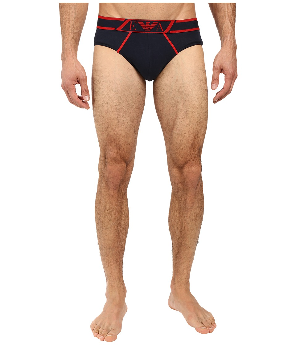 Emporio Armani - Striped Logo Band Brief (Marine) Men's Underwear
