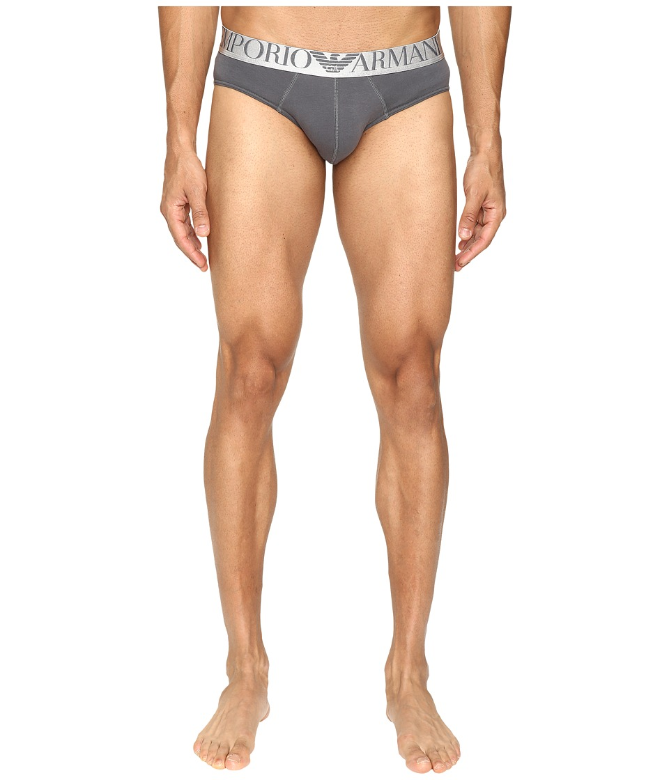 Emporio Armani - Shiny Logo Band Brief (Anthracite Grey) Men's Underwear