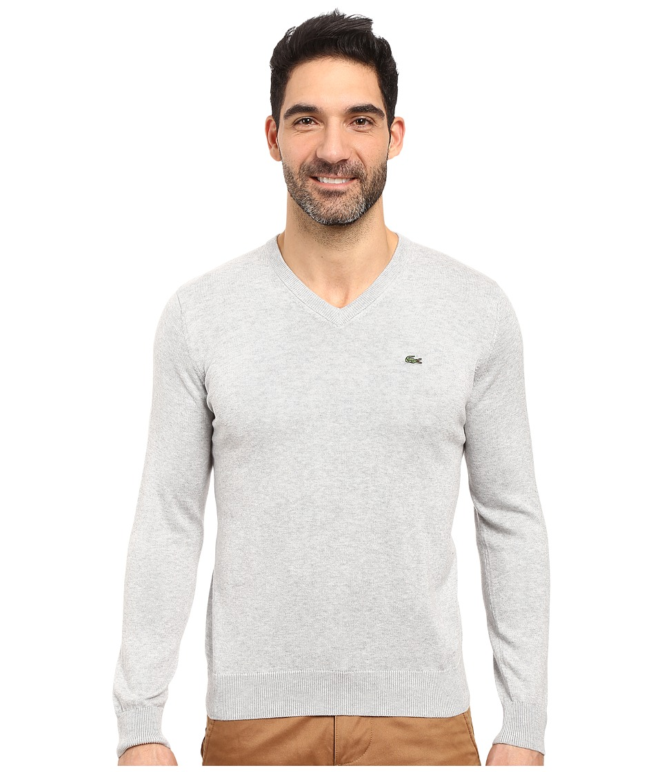 Lacoste - Segment 1 Cotton Jersey V-Neck Sweater (Silver Grey Chine) Men's Sweater