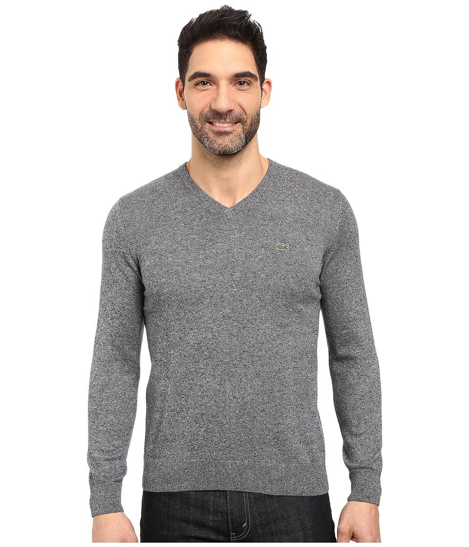 Lacoste - Segment 1 Cotton Jersey V-Neck Sweater (Navy Blue Mouline) Men's Sweater