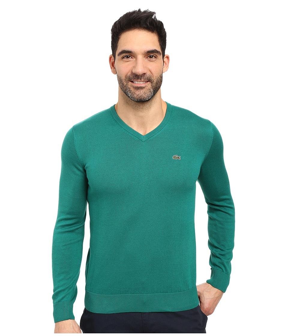 Lacoste - Segment 1 Cotton Jersey V-Neck Sweater (Chives) Men's Sweater