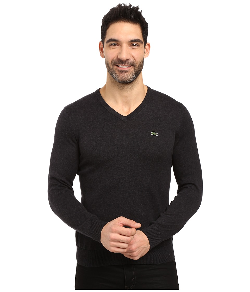 Lacoste - Segment 1 Cotton Jersey V-Neck Sweater (Panther Black) Men's Sweater