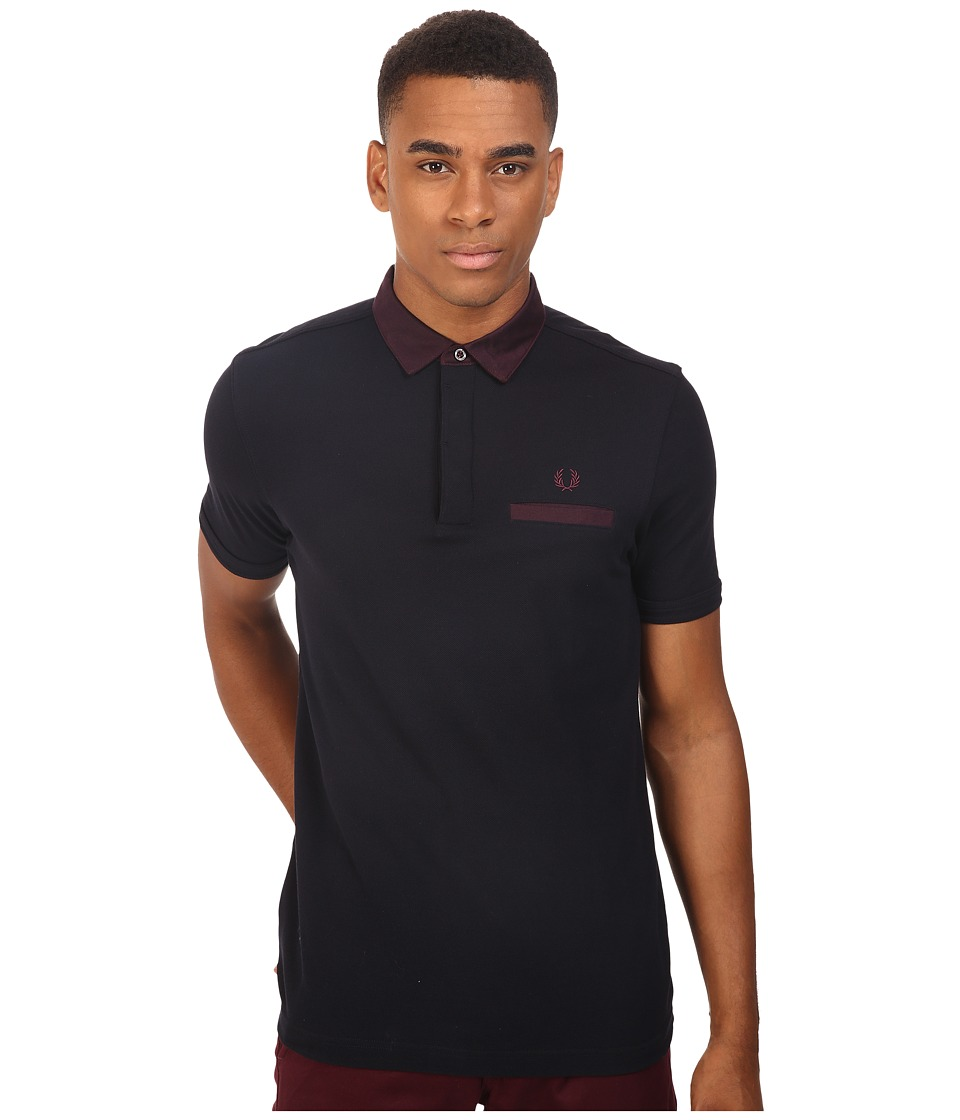 Fred Perry - Oxford Trim Collar Pique Shirt (Navy) Men's Short Sleeve Knit