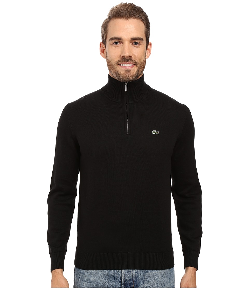 Lacoste - Segment 1 1/4 Zip Jersey Sweater (Black) Men's Sweater