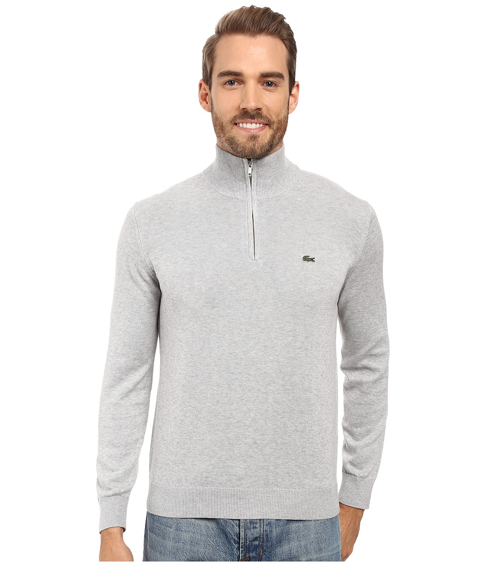 Lacoste - Segment 1 1/4 Zip Jersey Sweater (Silver Grey Chine) Men's Sweater