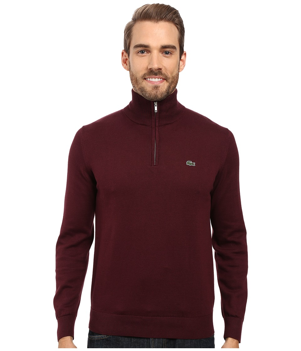 Lacoste - Segment 1 1/4 Zip Jersey Sweater (Red Grape) Men's Sweater