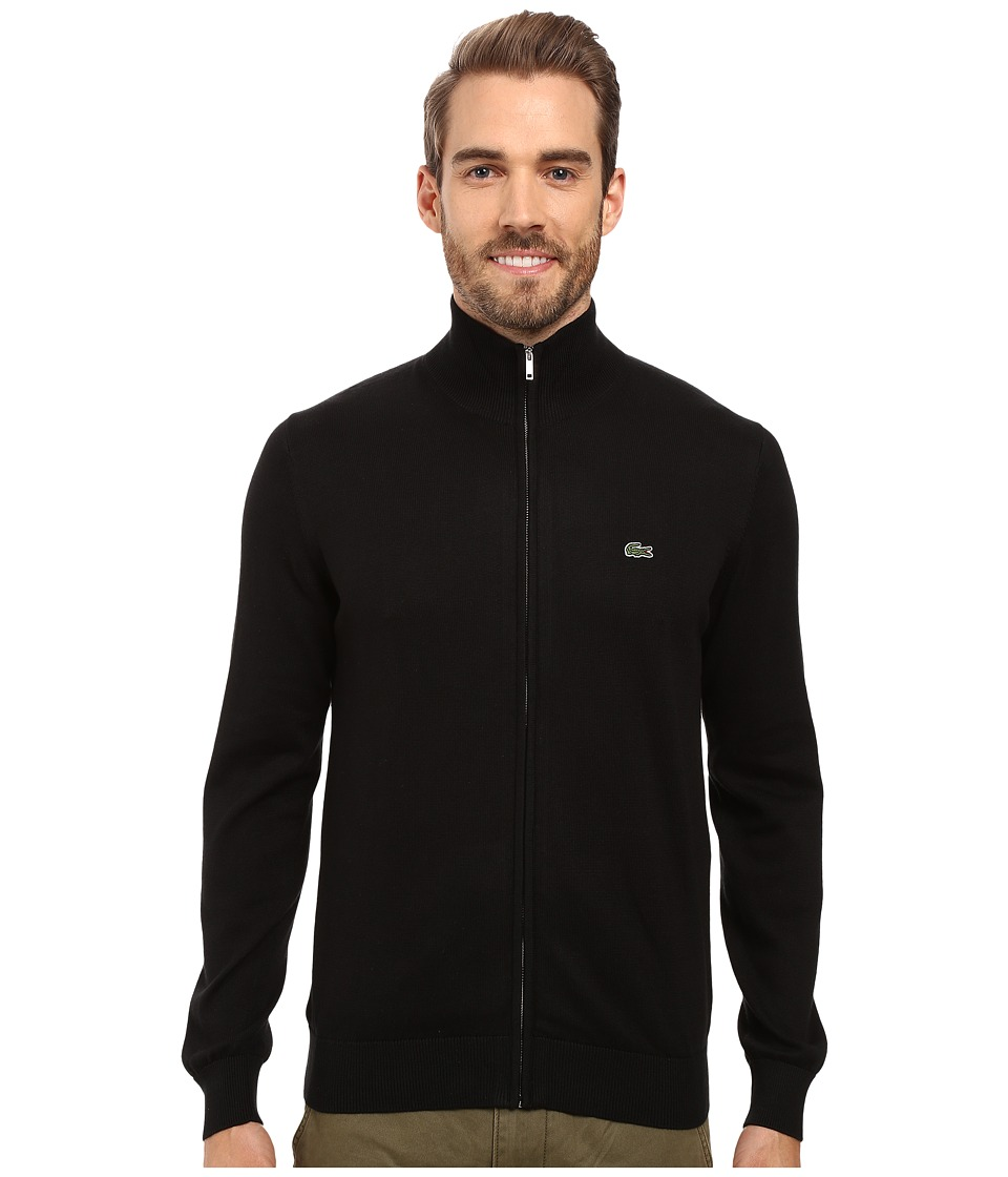 Lacoste - Segment 1 Full Zip Jersey Sweater (Black) Men's Sweater