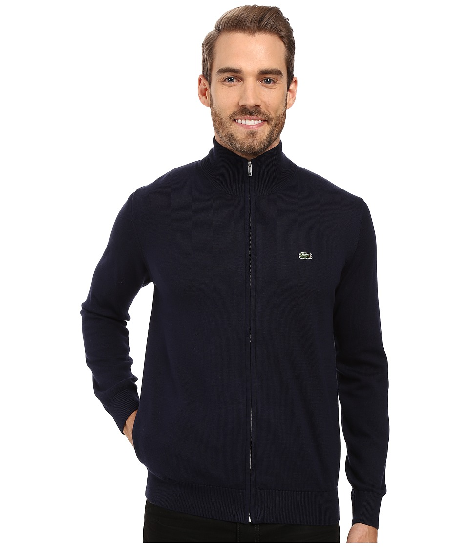 Lacoste - Segment 1 Full Zip Jersey Sweater (Navy Blue) Men's Sweater