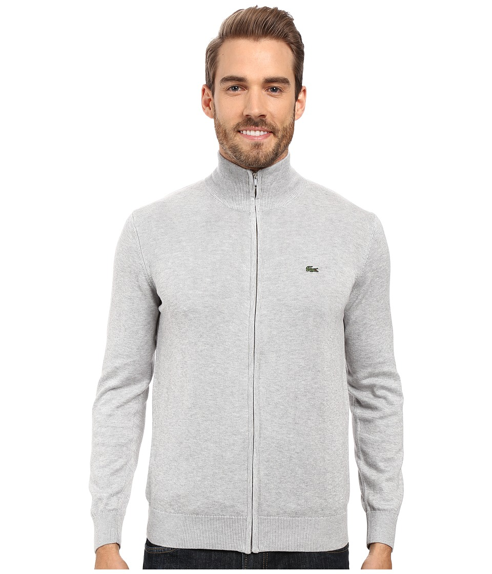 Lacoste - Segment 1 Full Zip Jersey Sweater (Silver Grey Chine) Men's Sweater