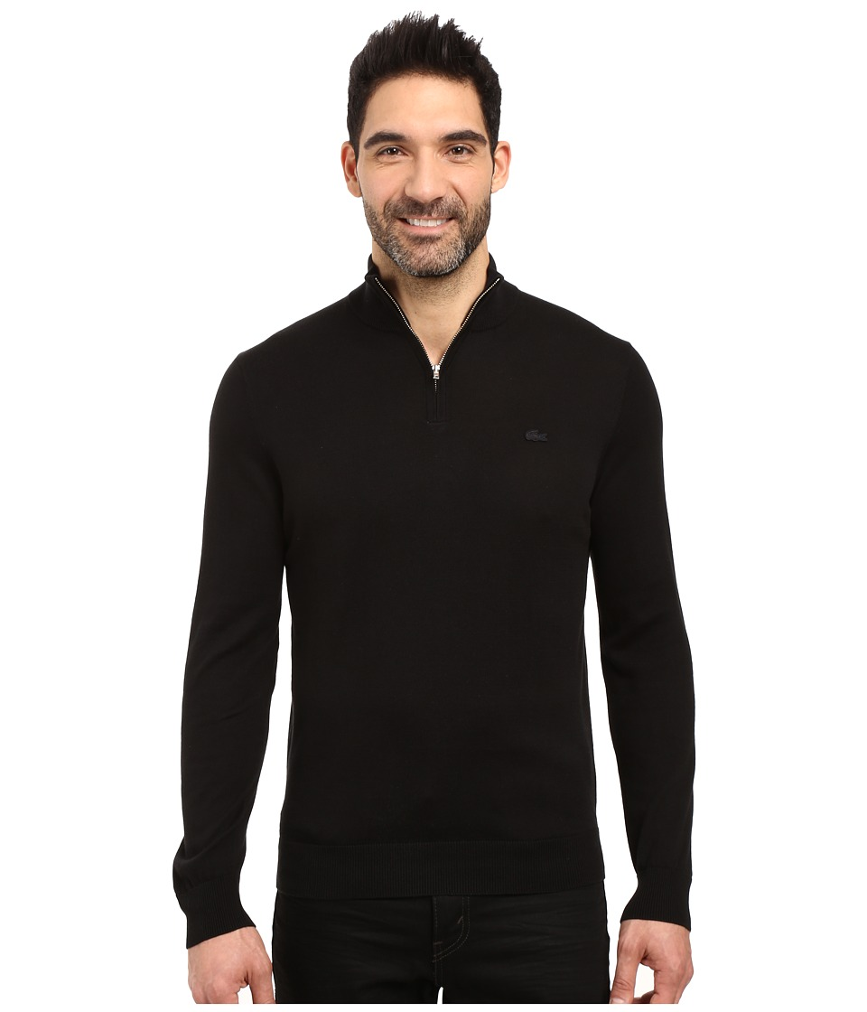 Lacoste - Classic 1/4 Zip Jersey Sweater (Black/Navy Blue) Men's Sweater