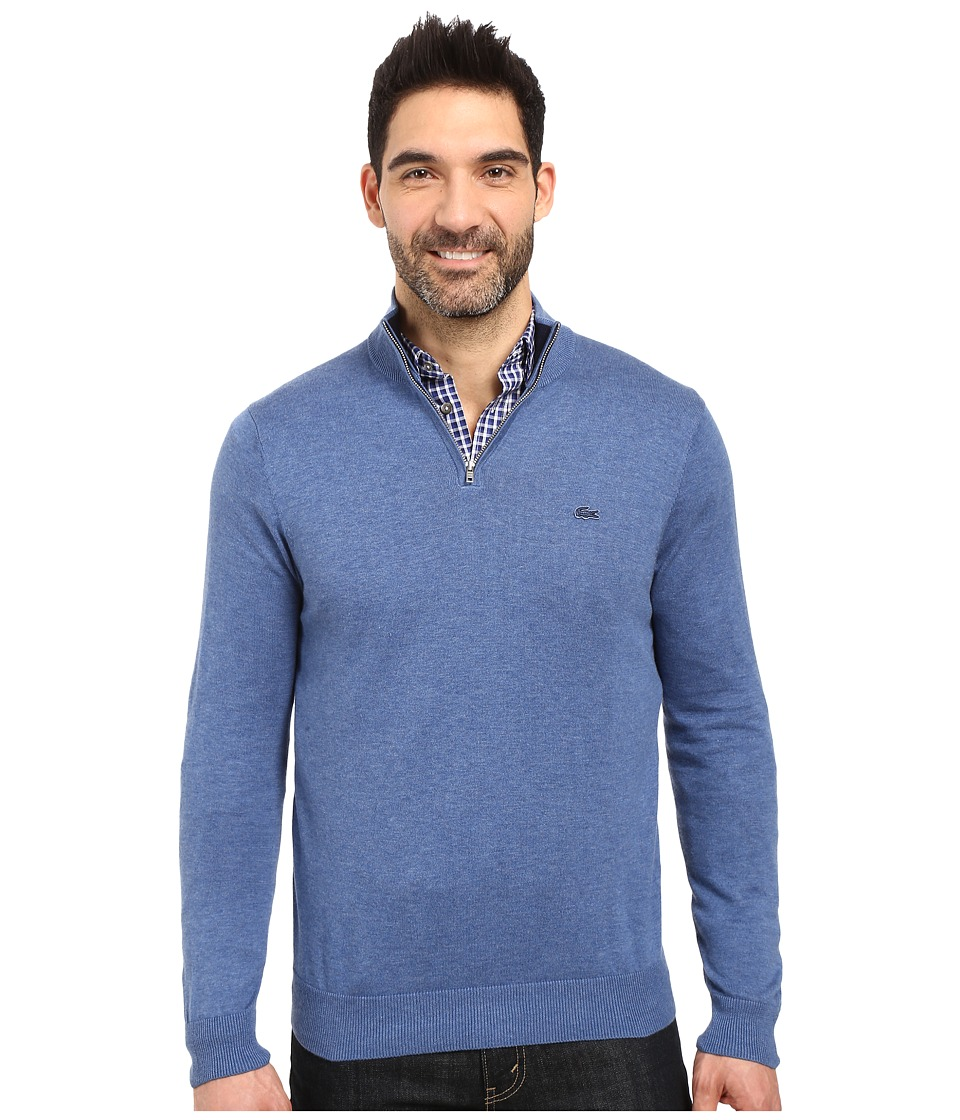 Lacoste - Classic 1/4 Zip Jersey Sweater (Storm Chine/Navy Blue) Men's Sweater