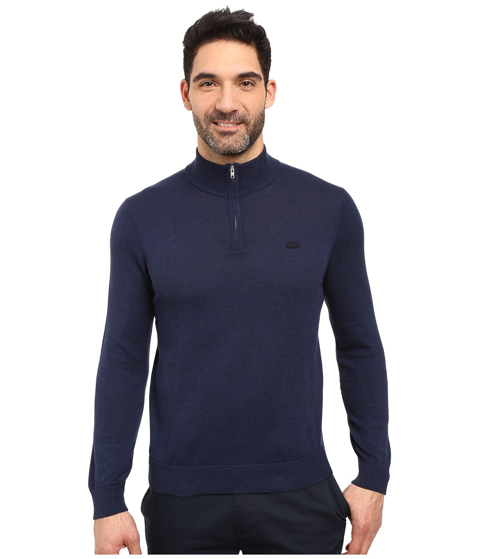 Lacoste - Classic 1/4 Zip Jersey Sweater (Midnight Blue Chine/Silver Chine) Men's Sweater