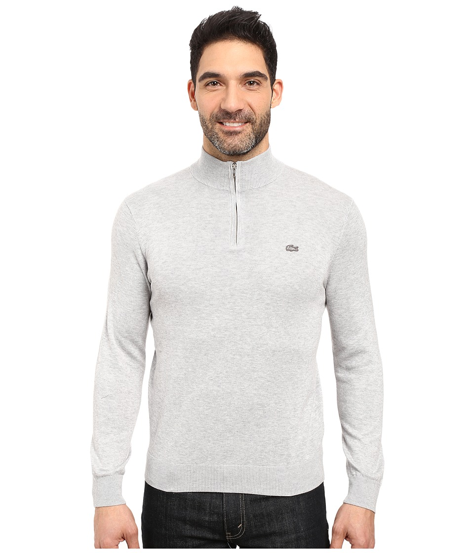Lacoste Classic 1/4 Zip Jersey Sweater (Silver Grey Chine/Navy Blue) Men