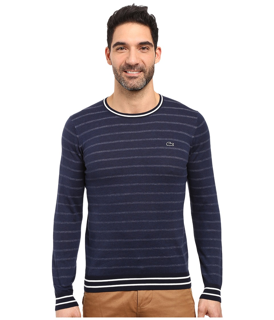 Lacoste Long Sleeve Double Face Chine Stripe Crew Neck Sweater (Midnight Blue Chine/Navy Blue/Flour) Men
