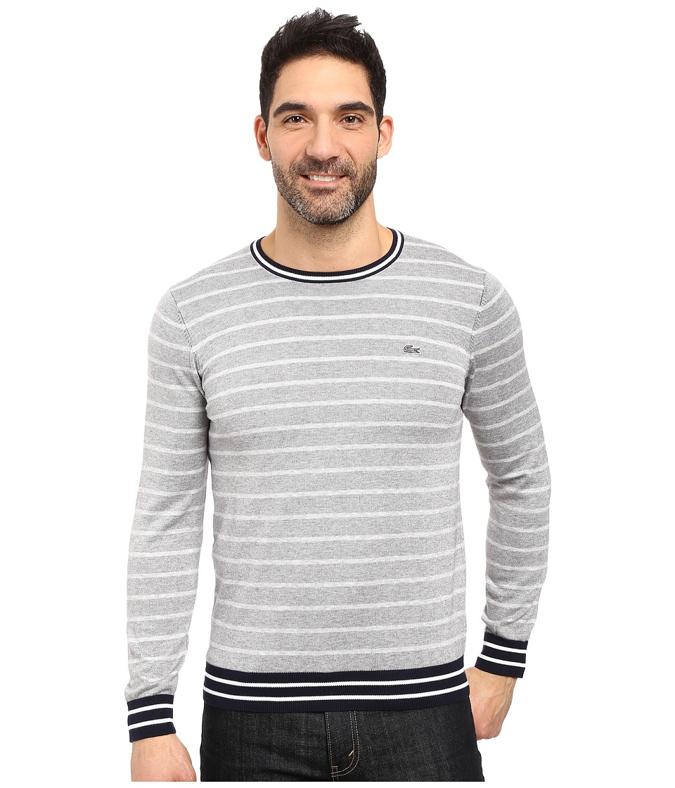 Lacoste - Long Sleeve Double Face Chine Stripe Crew Neck Sweater (Silver Chine/Navy Blue/White) Men's Sweater