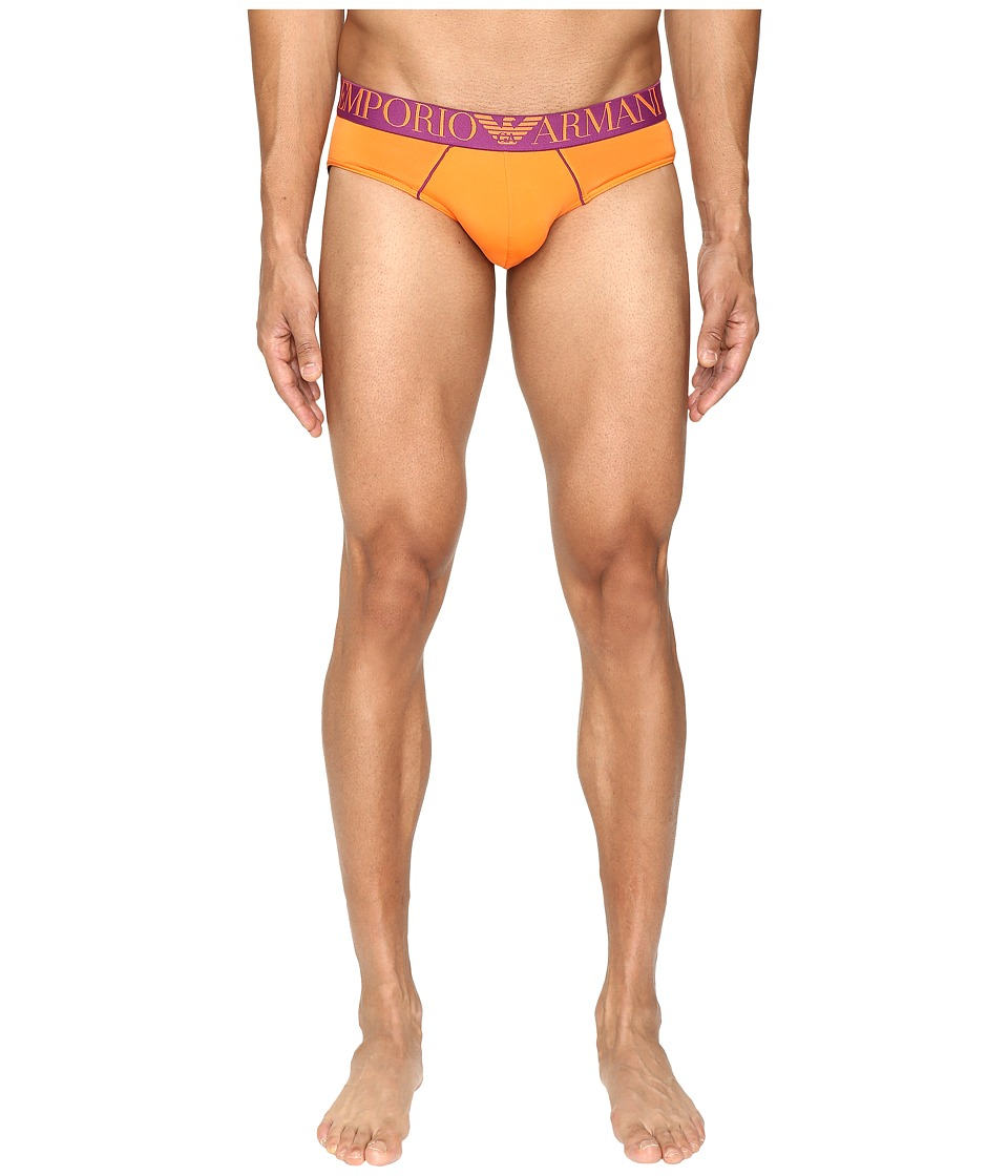 Emporio Armani - Fluo Piping Microfiber Brief (Mandarin Red) Men's Underwear
