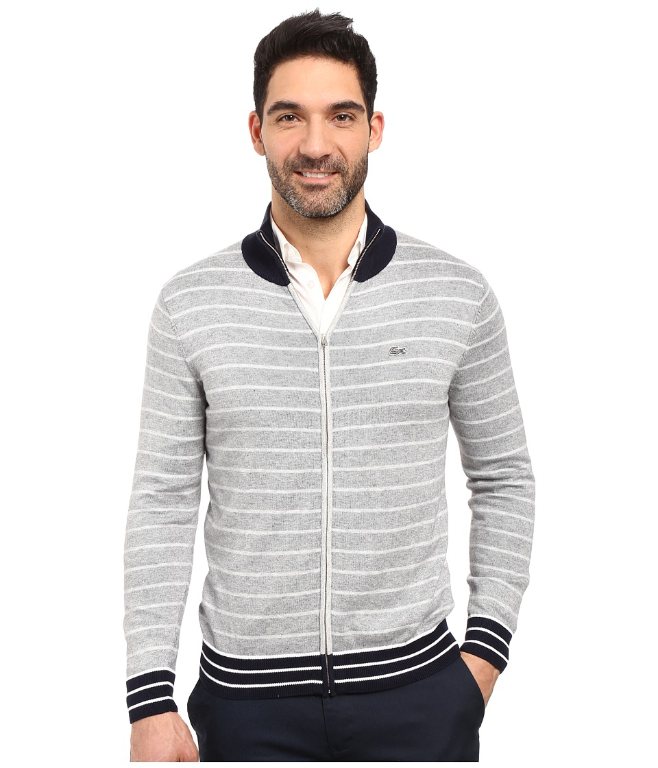 Lacoste - Long Sleeve Double Face Chine Stripe Zip Cardigan (Silver Chine/Navy Blue/White) Men's Sweater