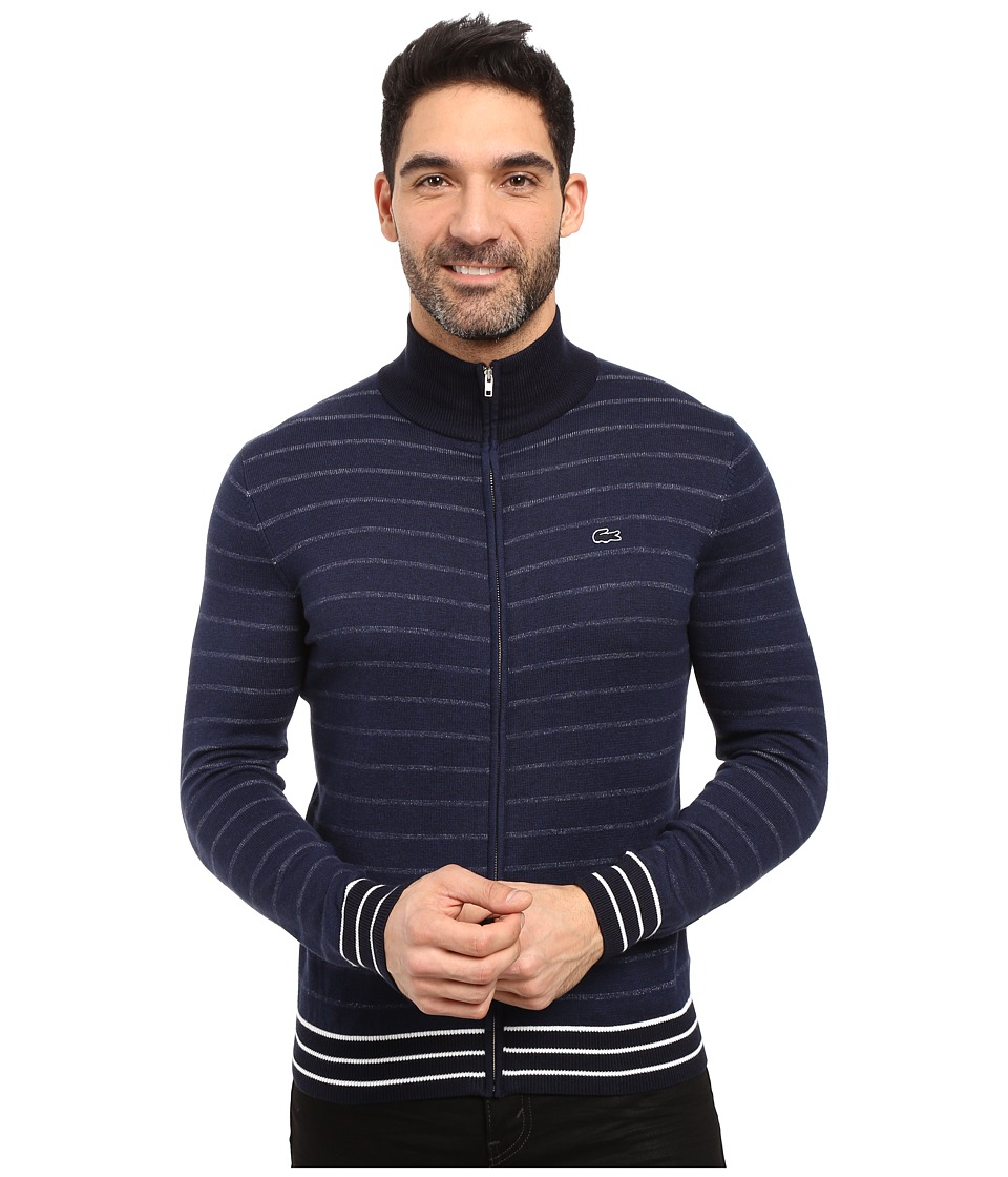 Lacoste - Long Sleeve Double Face Chine Stripe Zip Cardigan (Midnight Blue Chine/Navy Blue/Flour) Men's Sweater