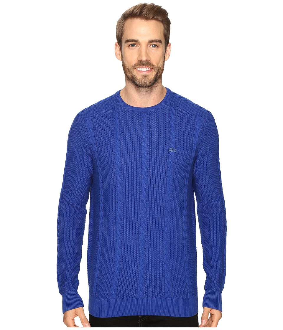 Lacoste - Long Sleeve Resort Cotton Cable Crew Neck (Steamship Blue) Men's Sweater