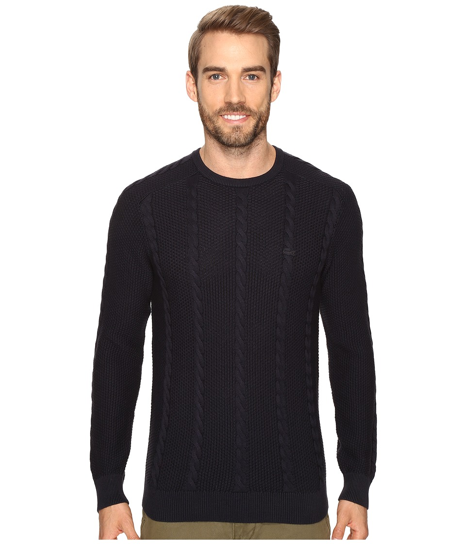 Lacoste Long Sleeve Resort Cotton Cable Crew Neck (Cosmos) Men