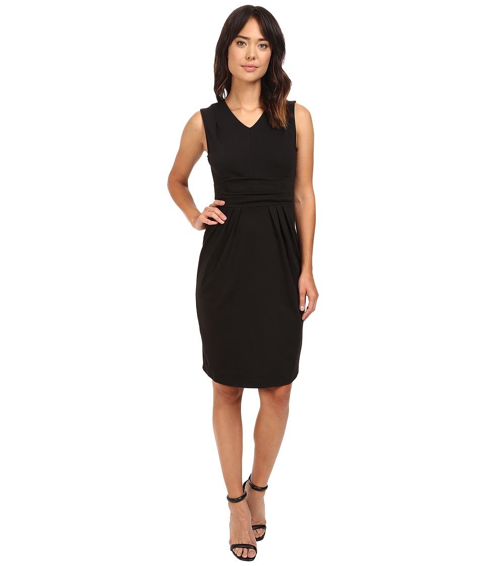Christin Michaels Kassandra V-Neck Ponte Dress with Cinched Waist (Black) Women