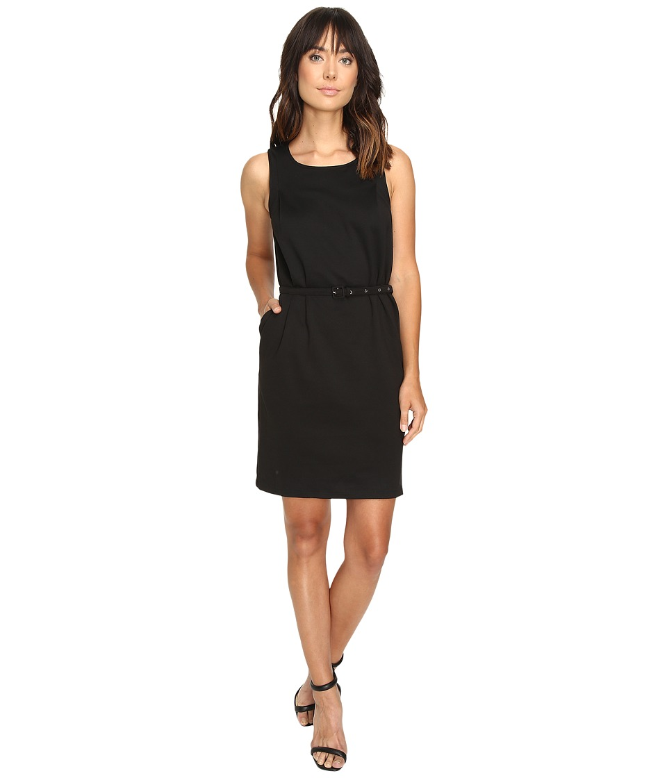 Christin Michaels - Marianna Sleeveless Ponte Dress with Belt (Black) Women's Dress