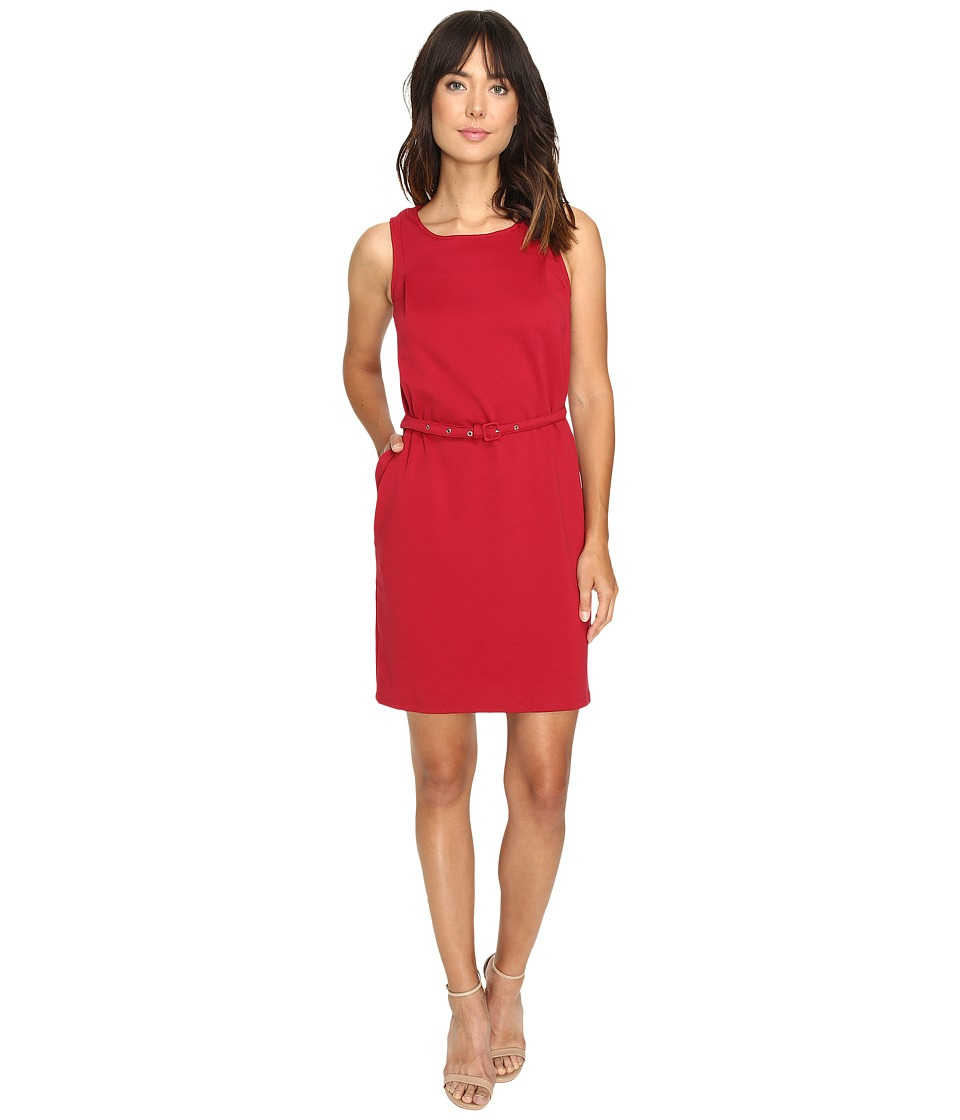 Christin Michaels - Marianna Sleeveless Ponte Dress with Belt (Cranberry) Women's Dress